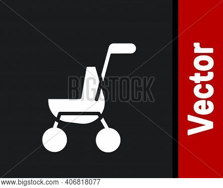 White Baby Stroller Icon Isolated On Black Background. Baby Carriage, Buggy, Pram, Stroller, Wheel.