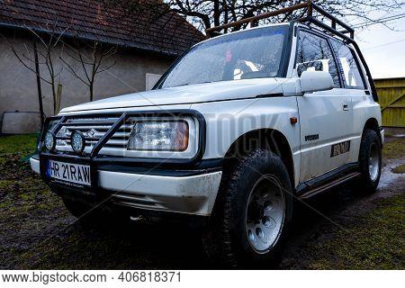 Miercurea Ciuc, Romania- 06 February 2021: Low Angle View, Parking Old Suzuki Vitara Fabricated In 1