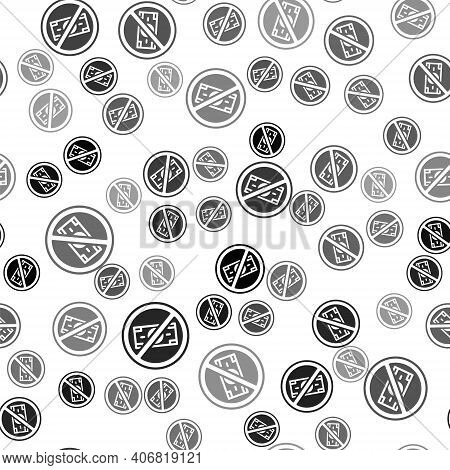 Black No Money Icon Isolated Seamless Pattern On White Background. Prohibition Of Money. Vector