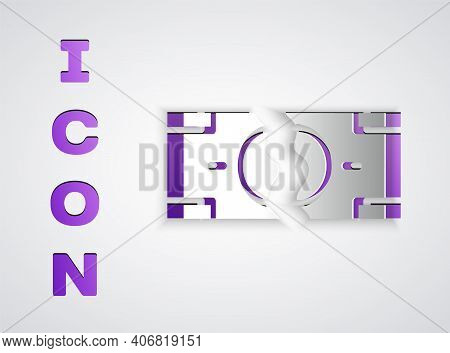 Paper Cut Tearing Apart Money Banknote Into Two Peaces Icon Isolated On Grey Background. Paper Art S