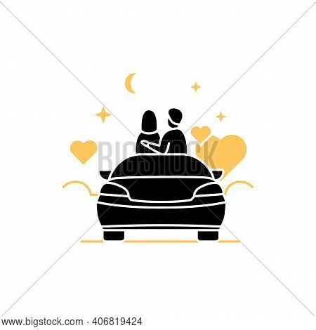 Car Date Night Glyph Icon. Romantic Pastime Concept. Comfortable Car Helps Relax Together Under Star