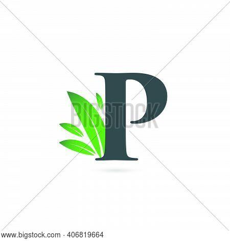 Initial Letter P Leaf Logo, Alphabet P Vector Illustration