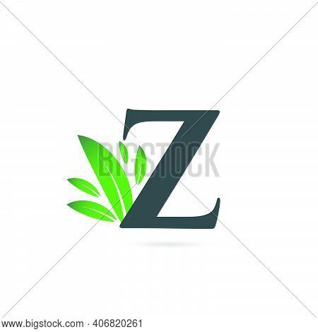 Initial Letter Z Leaf Logo, Alphabet Z Vector Illustration