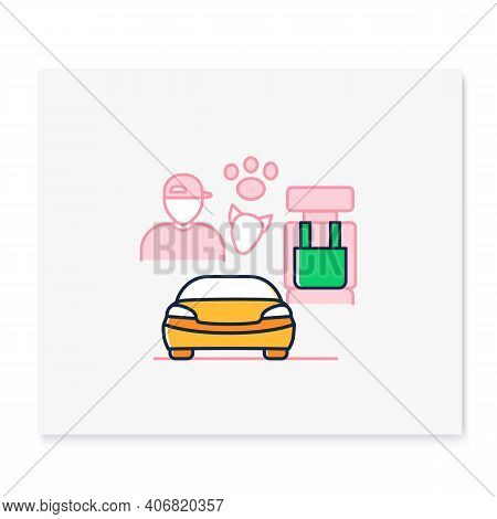 Dog Car Seat Color Icon. Help Small Dogs See Out Window While Staying Restrained In Back Seat. Prote