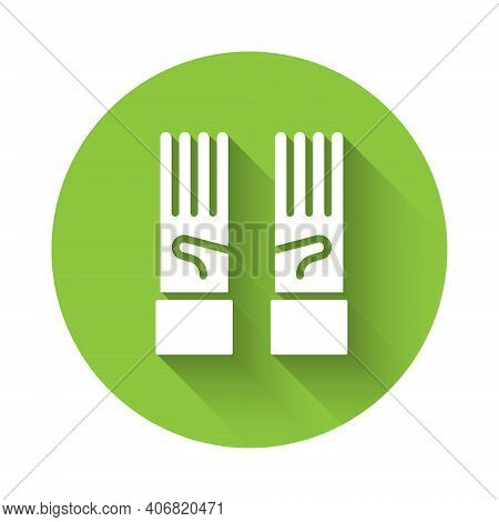 White Medical Rubber Gloves Icon Isolated With Long Shadow. Protective Rubber Gloves. Green Circle B