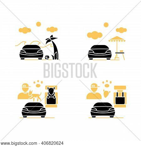 Getaway Car Glyph Icons Set. Relax And Travel By Automobile Concept. Contains Such Icons As Pet Seat