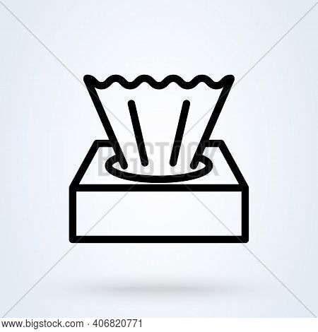 Tissue Box Line Sign Icon Or Logo. Wet Wipes Concept. Hygiene Tissue Linear App Vector Illustration.