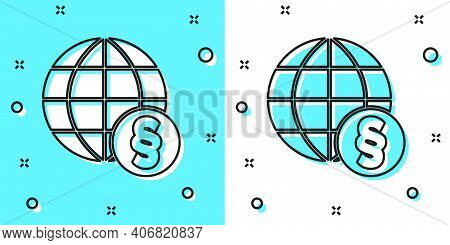 Black Line International Law Icon Isolated On Green And White Background. Global Law Logo. Legal Jus