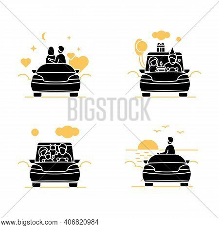 Getaway Car Glyph Icons Set. Relax And Travel By Automobile Concept. Contains Such Icons As Garage,