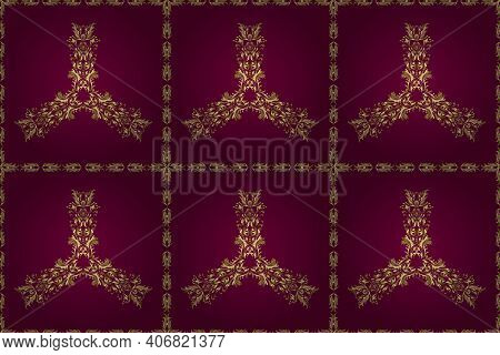 Classic Vintage Background. Classic Raster Golden Seamless Pattern. Traditional Orient Ornament. Sea