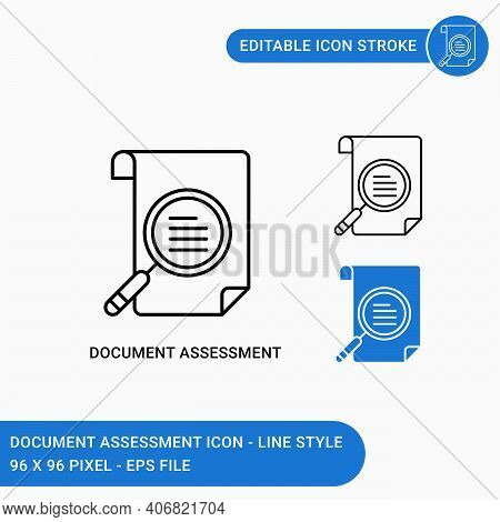 Document Assessment Icons Set Vector Illustration With Icon Line Style. Paper Statement Audit Icon C
