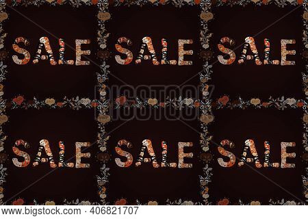 Illustration In Brown, Beige And Black Colors. Marketing Banners In Trendy Style Design. Frames. End