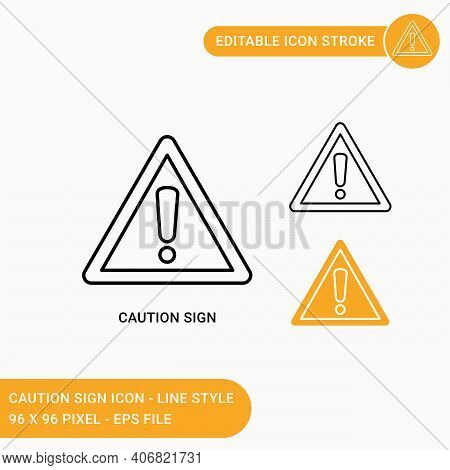 Caution Sign Icons Set Vector Illustration With Icon Line Style. Yellow Caution With Exclamation Mar