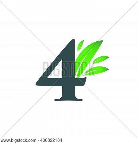 Number Four Logo With Green Leaves. Natural Number 4 Logo With Green Leaf.