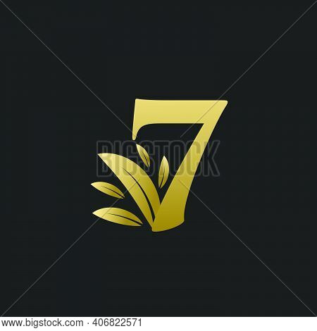 Golden Number Seven Logo With Gold Leaves. Natural Number 7 Logo With Gold Leaf.