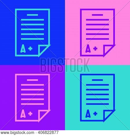 Pop Art Line Exam Sheet With A Plus Grade Icon Isolated On Color Background. Test Paper, Exam, Or Su