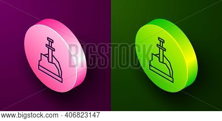 Isometric Line Sword In The Stone Icon Isolated On Purple And Green Background. Excalibur The Sword