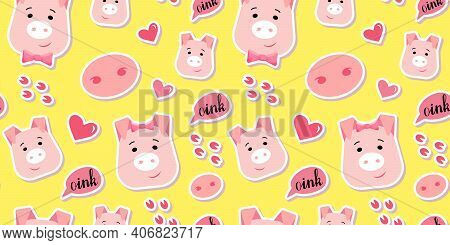 Cute Piglet Vector Seamless Pattern. Happy Pig Head With Hand Drawn Lettering In Cartoon Style. Nice