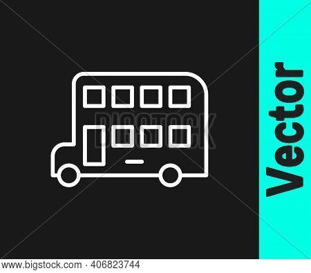 White Line Double Decker Bus Icon Isolated On Black Background. London Classic Passenger Bus. Public