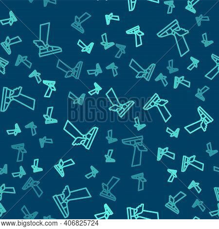 Green Line Hermes Sandal Icon Isolated Seamless Pattern On Blue Background. Ancient Greek God Hermes