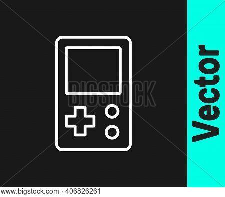 White Line Portable Tetris Electronic Game Icon Isolated On Black Background. Vintage Style Pocket B