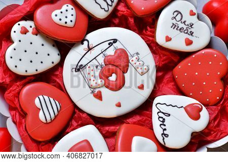 Close-up Gingerbread In A Box In The Form Of Baked Hearts For Valentine's Day. Sweet Sweets With Lov