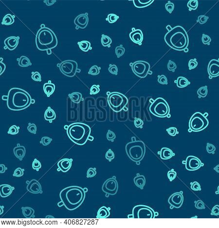 Green Line Toilet Urinal Or Pissoir Icon Isolated Seamless Pattern On Blue Background. Urinal In Mal