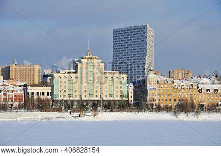 Kazan, Russia - January 17, 2021. Winter City Landscape View Of The Frozen Lake Lower Kaban. Skyscra