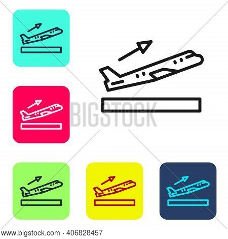 Black Line Plane Takeoff Icon Isolated On White Background. Airplane Transport Symbol. Set Icons In