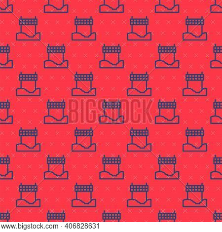 Blue Line Ribbon In Finishing Line Icon Isolated Seamless Pattern On Red Background. Symbol Of Finis