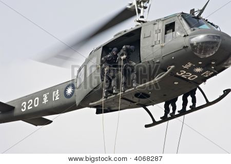 Rope Descending From Helicopter