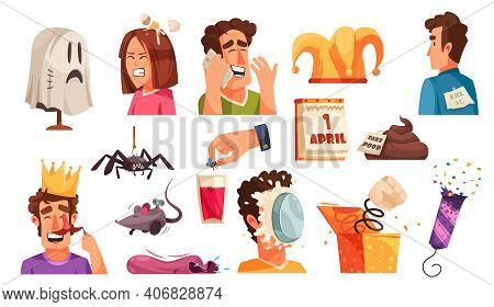 All Fools Day Set Of Isolated Icons With Jokes Vermins Prank Items With Laughing Human Characters Ve