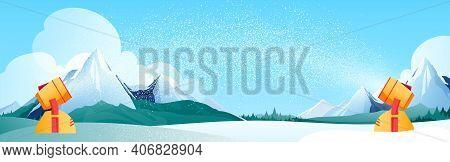 Ski Resort Background With Slope Equipment Symbols Flat Vector Illustration