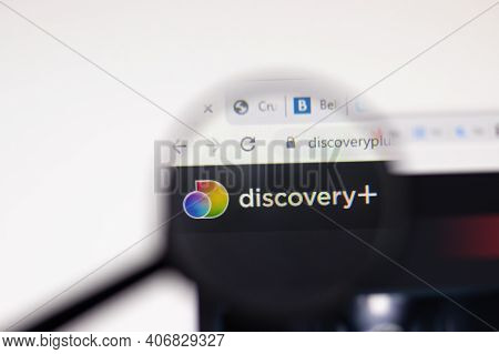 Los Angeles, Usa - 1 February 2021: Discovery Plus Website Page. Discoveryplus.co.uk Logo On Display