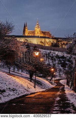 Postcard View Of Evening Prague Castle From Petrin, Czech Republic.famous Tourist Destination.prague