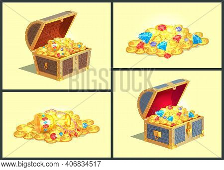 Treasures In Wooden Chests, Golden Coins With Stars, Cup With Diamonds And Brilliants, Necklace Of P