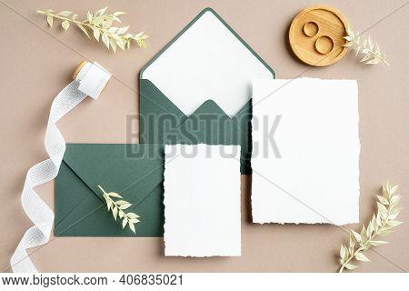 Elegant Wedding Stationery Set. Wedding Invitation Cards Templates, Green Envelopes, Silk Ribbon, Go