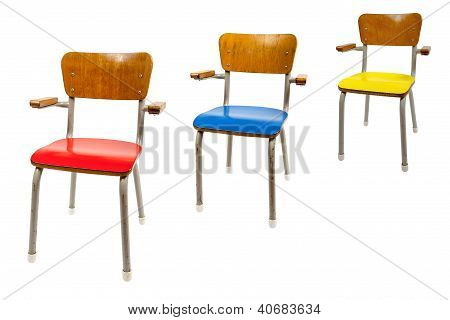 Three Old School Chairs