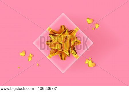 Happy Valentine's Day Background. Pink Gift Box With Golden Row And Golden Confetti