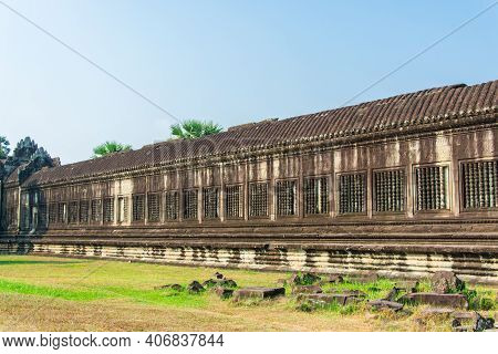 The Ancient  Wall Of Angkor  Wat, Ancient Religious Place Of  Ancient  Khmer.location  Angkor Wat ,s