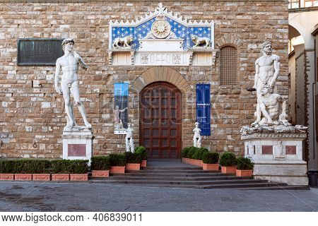 Florence, Italy - March 29, 2019: Entrance To Museum Of Palazzo Vecchio Without People. Tuscany, Ita