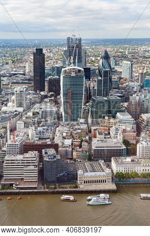 London, Uk - July 03, 2013. Aerial View Of Skyscrapers Including The Walkie Talkie Building In The C