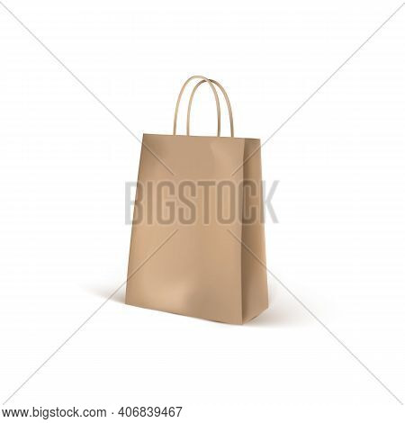 Brown Craft Eco Shopping Bag Mockup. Realistic 3d Shopping Packaging Blank Isolated On White Backgro