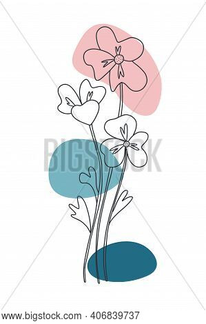 Flower Minimal Poster. Hand Drawn Line Wild Flowers And Leaves With Abstract Shape. Herbal And Meado