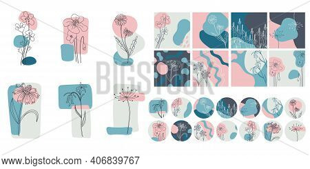 Floral Minimal Social Media Set. Hand Drawn Line Wild Flower And Abstract Blob Shapes. Modern Floral
