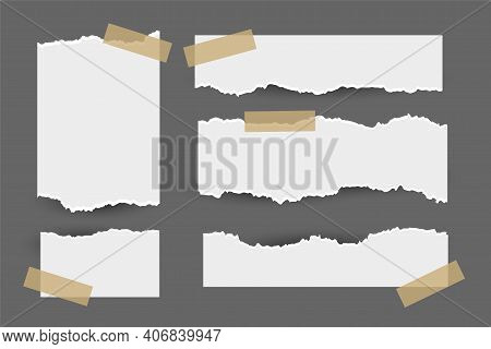 Set Of Torn Ripped Paper Sheets With Sticker