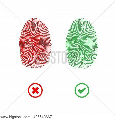 Red And Green Finger Print Isolated On White Background. Acceptand Decline Finger Identification Sym