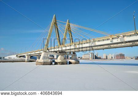 Kazan, Russia - February 2, 2021. Millennium Bridge Over The Kazanka River.
