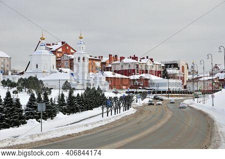Kazan, Russia - February 2, 2021. Baturin Street - A Street In The Historical Center, Vakhitovsky Di