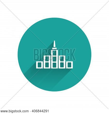 White City Landscape Icon Isolated With Long Shadow. Metropolis Architecture Panoramic Landscape. Gr
